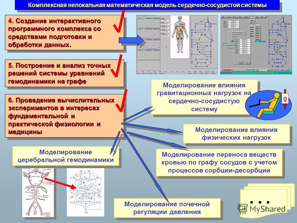 Комплексная нелокальная математическая модель сердечно-сосудистой системы 6. Проведение вычислительных экспериментов в интересах фундаментальной и практической физиологии и медицины 5. Построение и анализ точных решений системы уравнений гемодинамики