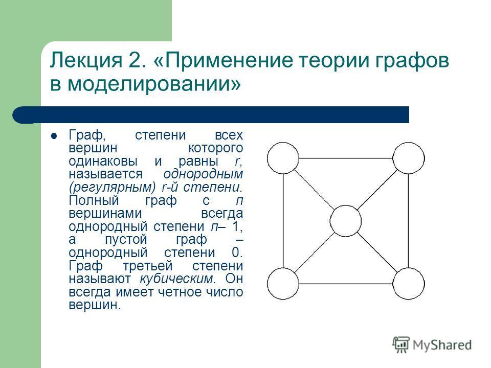 Лекция 2. «Применение теории графов в моделировании» Граф, степени всех вершин которого одинаковы и равны r, называется однородным (регулярным) r-й степени. Полный граф с п вершинами всегда однородный степени п– 1, а пустой граф – однородный степени