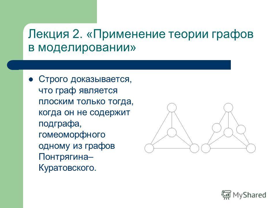 Лекция 2. «Применение теории графов в моделировании» Строго доказывается, что граф является плоским только тогда, когда он не содержит подграфа, гомеоморфного одному из графов Понтрягина– Куратовского.