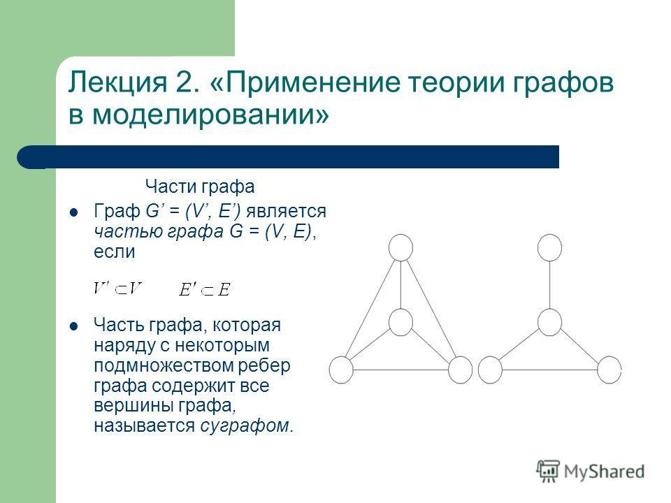 Лекция 2. «Применение теории графов в моделировании» Части графа Граф G = (V, Е) является частью графа G = (V, E), если Часть графа, которая наряду с некоторым подмножеством ребер графа содержит все вершины графа, называется суграфом.