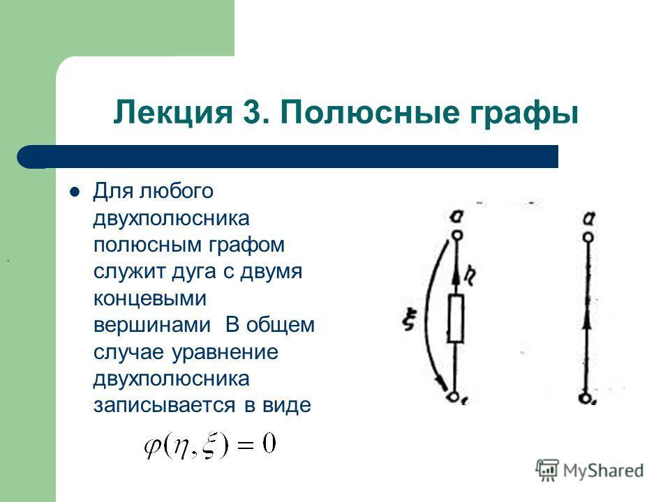 Лекция 3. Полюсные графы Для любого двухполюсника полюсным графом служит дуга с двумя концевыми вершинами В общем случае уравнение двухполюсника записывается в виде.