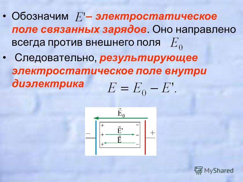 Обозначим – электростатическое поле связанных зарядов. Оно направлено всегда против внешнего поля Следовательно, результирующее электростатическое поле внутри диэлектрика