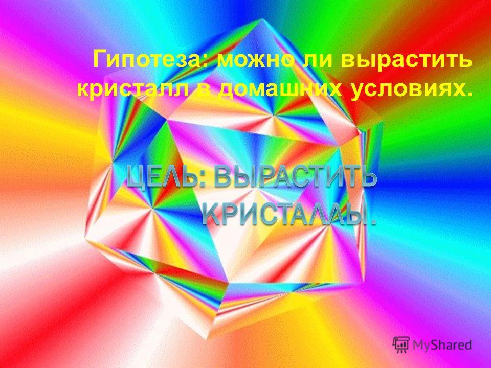 Гипотеза: можно ли вырастить кристалл в домашних условиях.