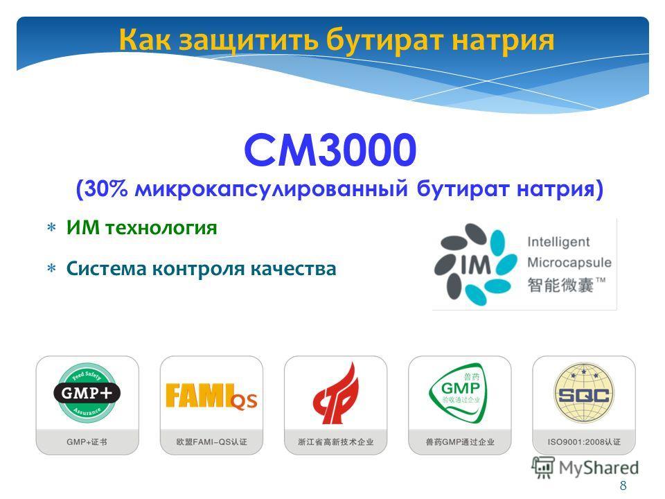 Как защитить бутират натрия CM3000 (30% микрокапсулировданный бутират натрия) ИМ технология Система контроля качества 8