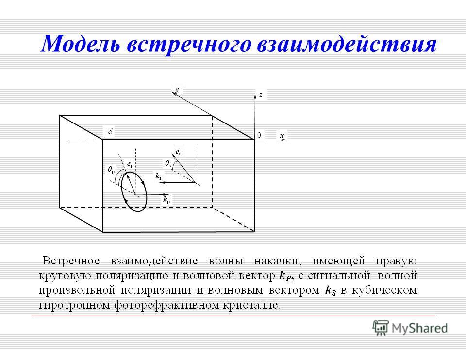 0 y z x kpkp ksks eses epep θpθp θsθs -d-d Модель встречного взаимодействия