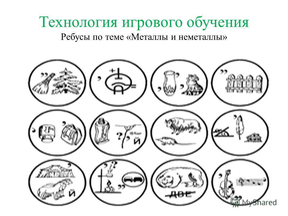 Технология игрового обучения Ребусы по теме «Металлы и неметаллы»