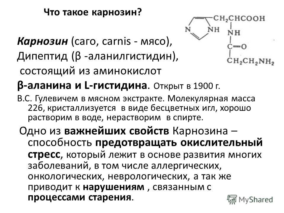 Что такое карнозин? Карнозин (саго, carnis - мясо), Дипептид (β -аланилгистидин), состоящий из аминокислот β-аланина и L-гистидина. Открыт в 1900 г. B.C. Гулевичем в мясном экстракте. Молекулярная масса 226, кристаллизуется в виде бесцветных игл, хор