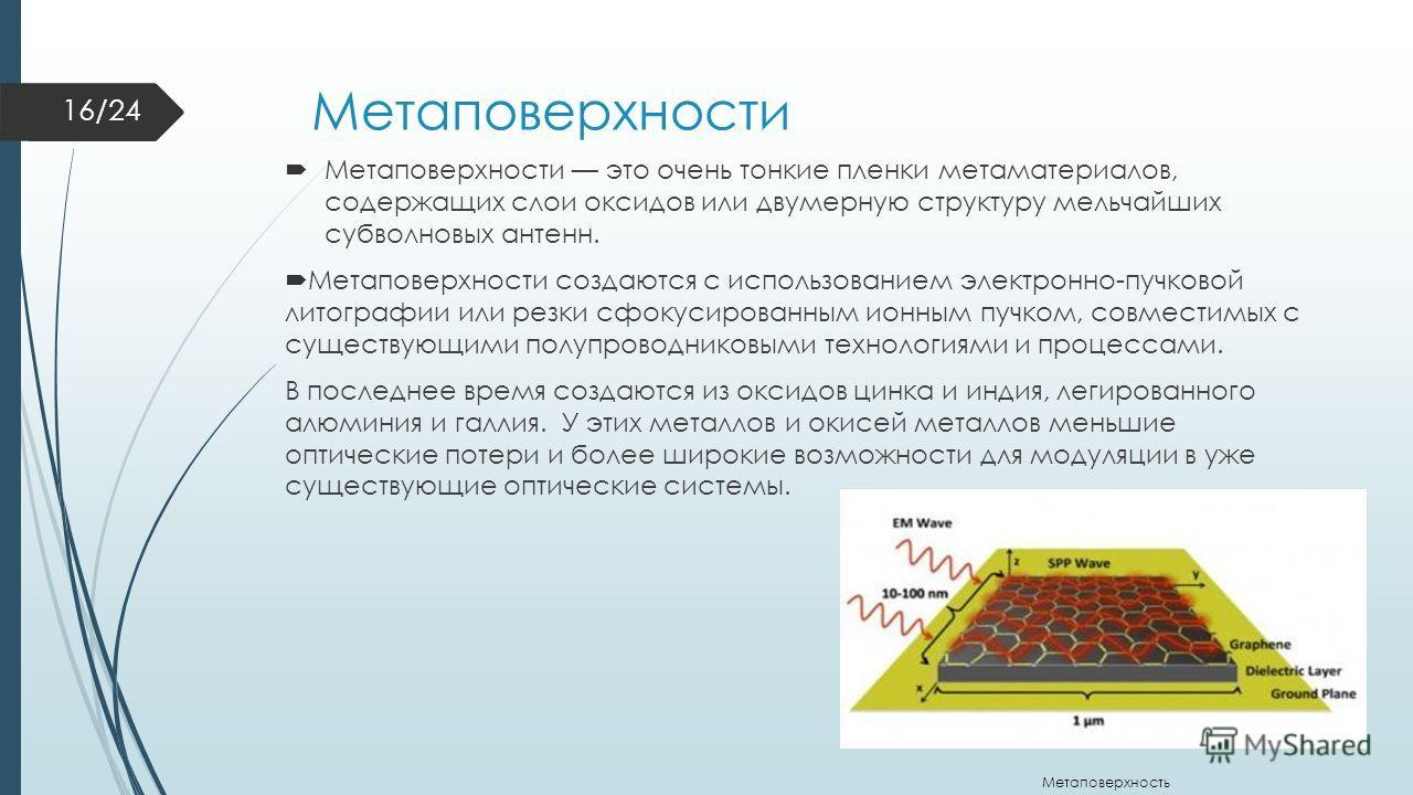 Метаповерхности Метаповерхности это очень тонкие пленки метаматериалов, содержащих слои оксидов или двумерную структуру мельчайших субволновых антенн. Метаповерхности создаются с использованием электронно-пучковой литографии или резки сфокусированным