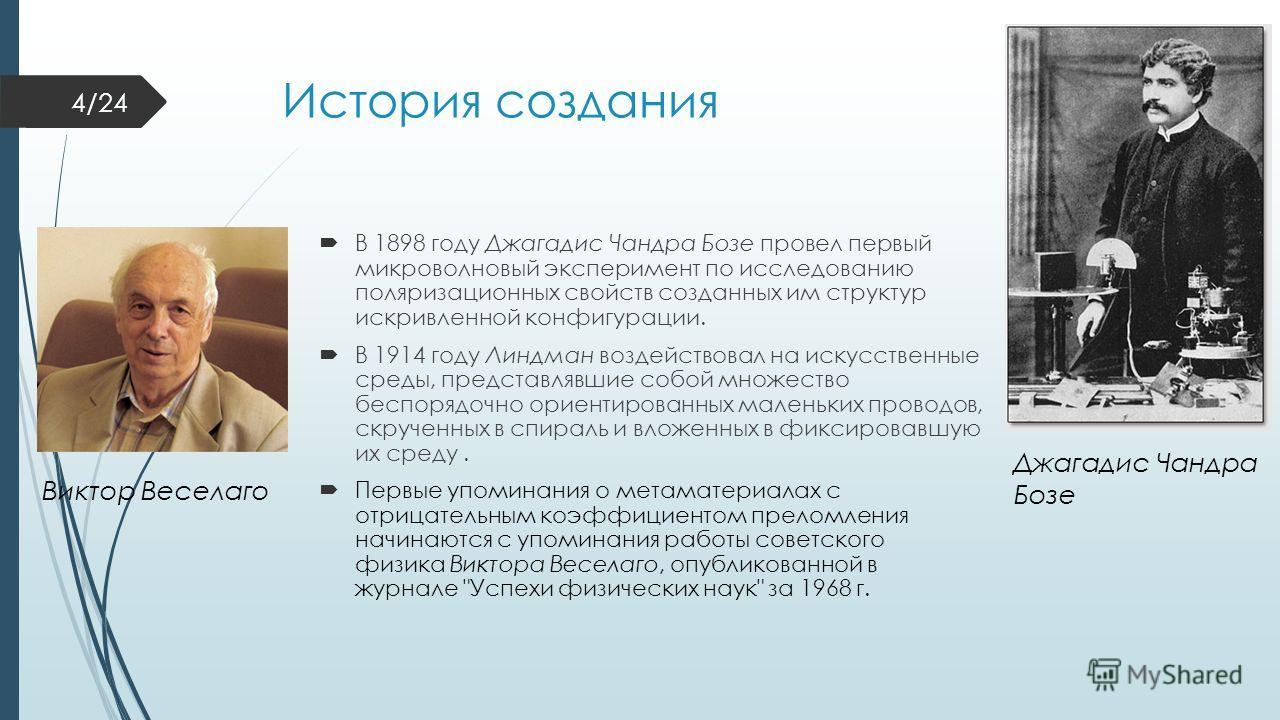 История создания В 1898 году Джагадис Чандра Бозе провел первый микроволновый эксперимент по исследованию поляризационных свойств созданных им структур искривленной конфигурации. В 1914 году Линдман воздействовал на искусственные среды, представлявши