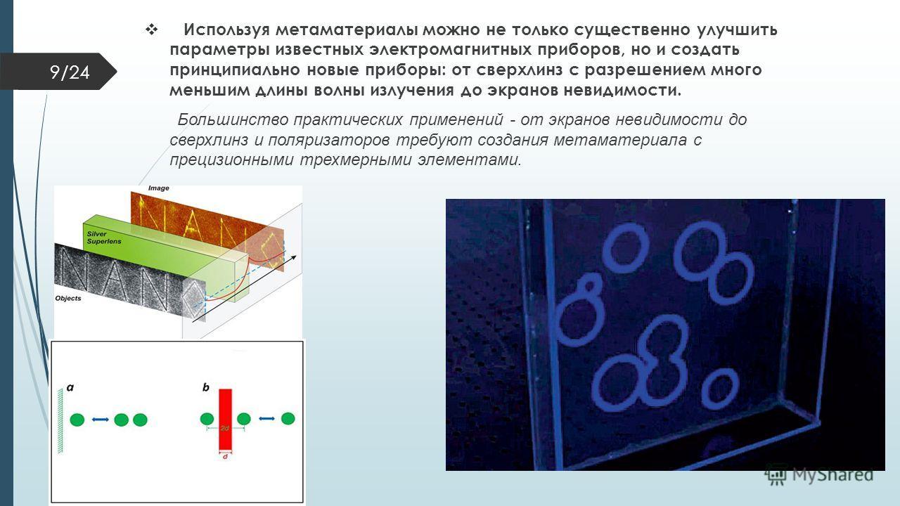 Используя метаматериалы можно не только существенно улучшить параметры известных электромагнитных приборов, но и создать принципиально новые приборы: от сверх линз с разрешением много меньшим длины волны излучения до экранов невидимости. Большинство