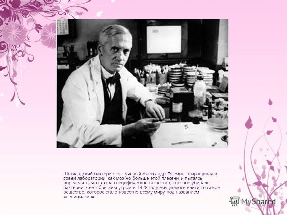 Шотландский бактериолог- ученай Александр Флеминг выращивал в совей лаборатории как можно больше этой плесени и пытаясь определить, что это за специфическое вещество, которое убивало бактерии. Сентябрьским утром в 1928 году ему удалось найти то самое