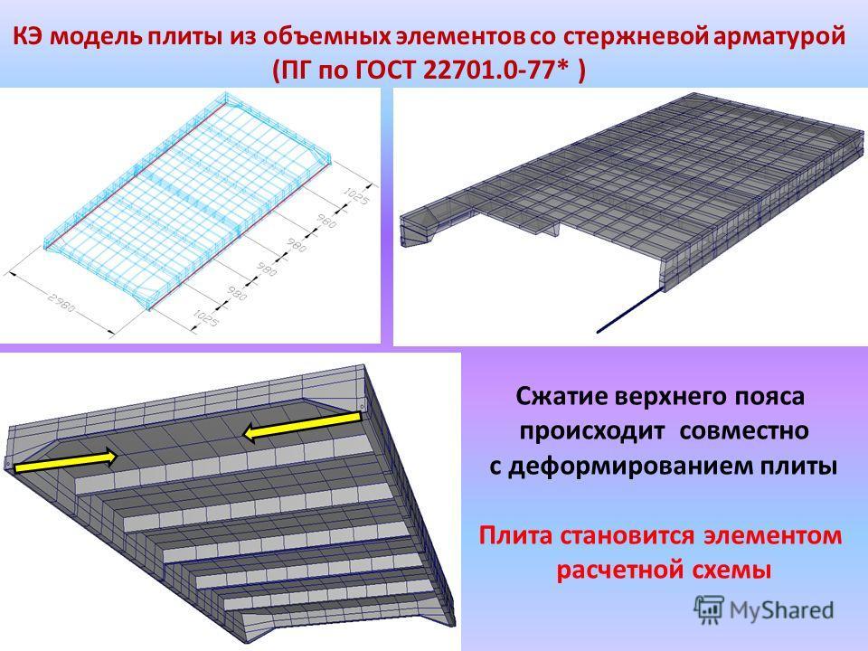 КЭ модель плиты из объемных элементов со стержневой арматурой ( ПГ по ГОСТ 22701.0-77* ) Сжатие верхнего пояса происходит совместно с деформированием плиты Плита становится элементом расчетной схемы