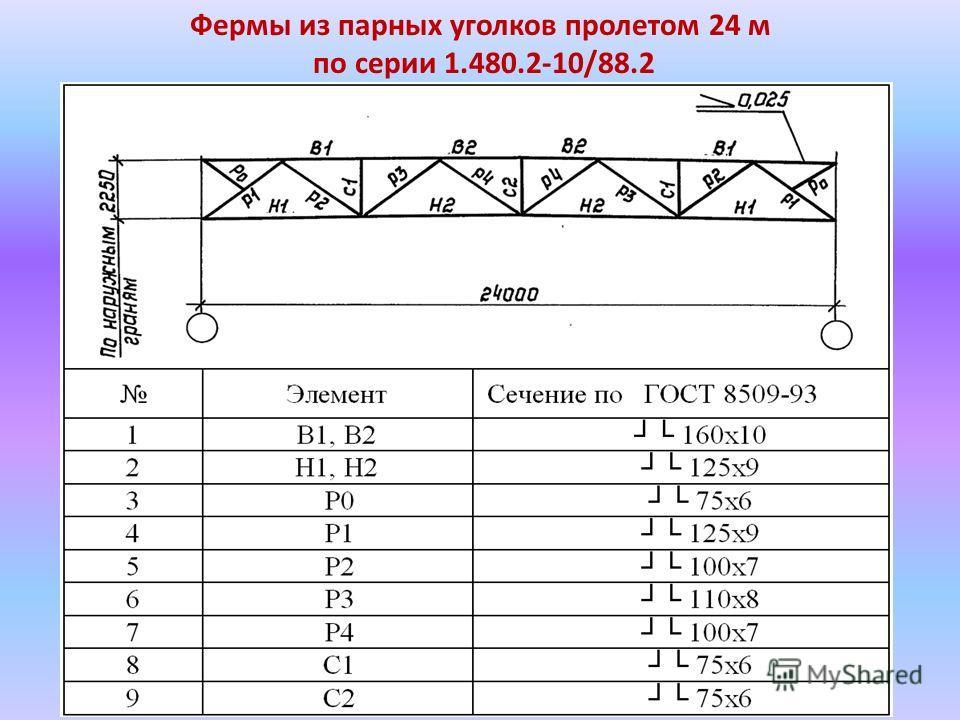 Фермы из парных уголков пролетом 24 м по серии 1.480.2-10/88.2