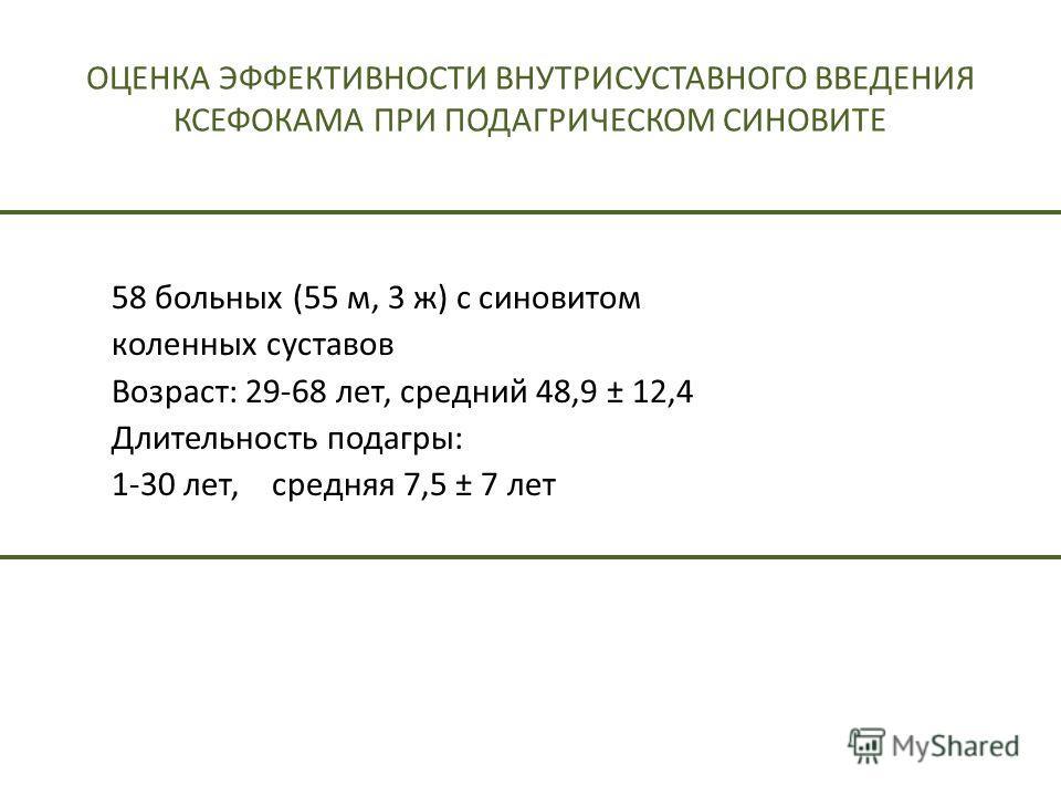 ОЦЕНКА ЭФФЕКТИВНОСТИ ВНУТРИСУСТАВНОГО ВВЕДЕНИЯ КСЕФОКАМА ПРИ ПОДАГРИЧЕСКОМ СИНОВИТЕ 58 больных (55 м, 3 ж) с синовитом коленных суставов Возраст: 29-68 лет, средний 48,9 ± 12,4 Длительность подагры: 1-30 лет, средняя 7,5 ± 7 лет