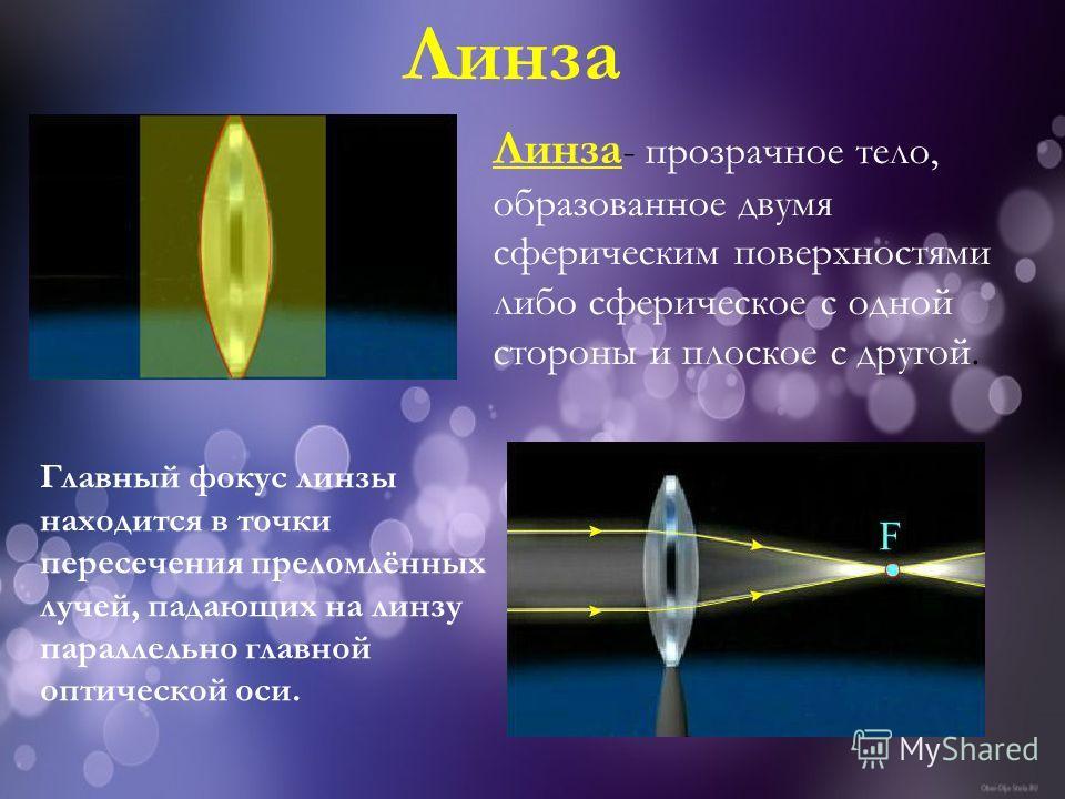 Линза - прозрачное тело, образованное двумя сферическим поверхностями либо сферическое с одной стороны и плоское с другой. Линза Главный фокус линзы находится в точки пересечения преломлённых лучей, падающих на линзу параллельно главной оптической ос