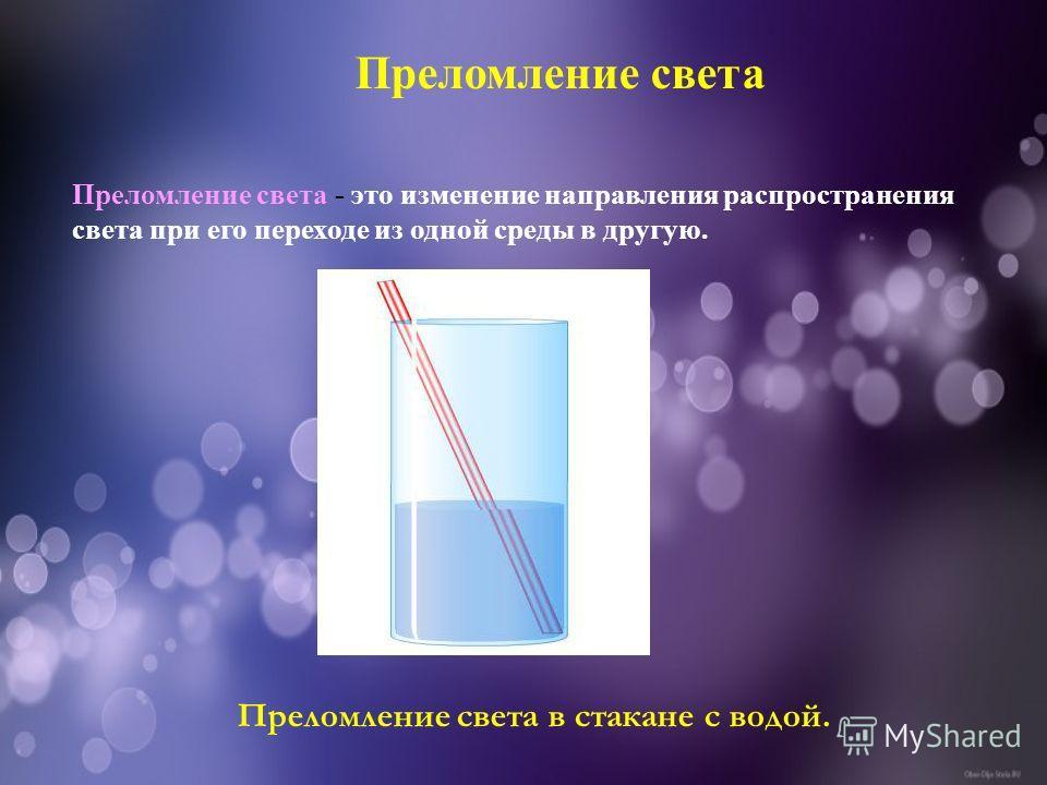 Преломление света Преломление света - это изменение направления распространения света при его переходе из одной среды в другую. Преломление света в стакане с водой.