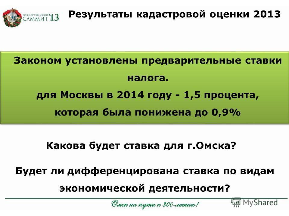 Результаты кадастровой оценки 2013 Законом установлены предварительные ставки налога. для Москвы в 2014 году - 1,5 процента, которая была понижена до 0,9% Какова будет ставка для г.Омска? Будет ли дифференцирована ставка по видам экономической деятел