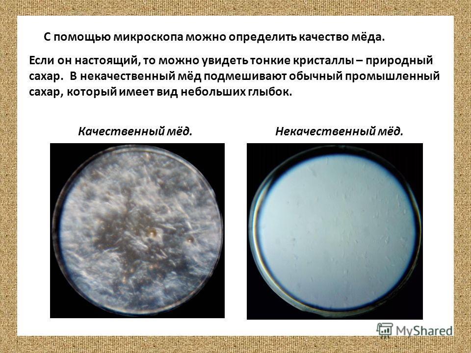 С помощью микроскопа можно определить качество мёда. Если он настоящий, то можно увидеть тонкие кристаллы – природный сахар. В некачественный мёд подмешивают обычный промышленный сахар, который имеет вид небольших глыбок. Качественный мёд.Некачествен