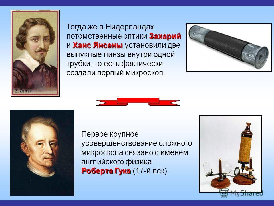 Роберта Гука Первое крупное усовершенствование сложного микроскопа связано с именем английского физика Роберта Гука (17-й век). Захарий Ханс Янсены Тогда же в Нидерландах потомственные оптики Захарий и Ханс Янсены установили две выпуклые линзы внутри