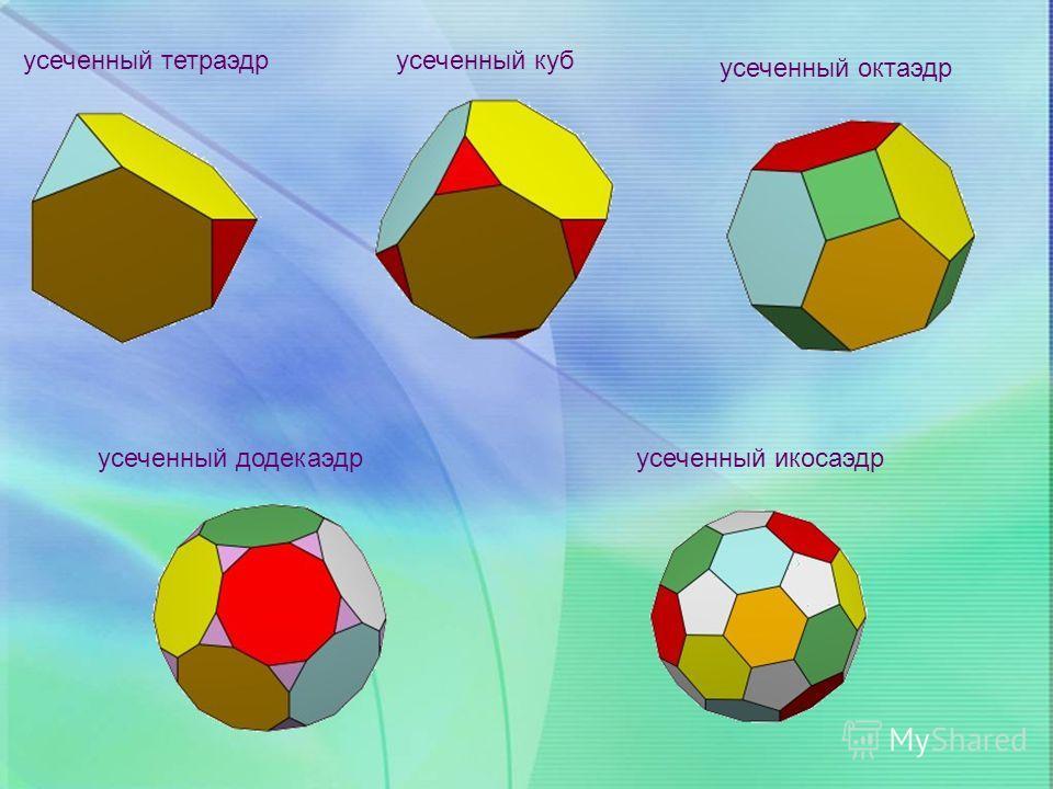 усеченный тетраэдр усеченный куб усеченный октаэдр усеченный додекаэдр усеченный икосаэдр