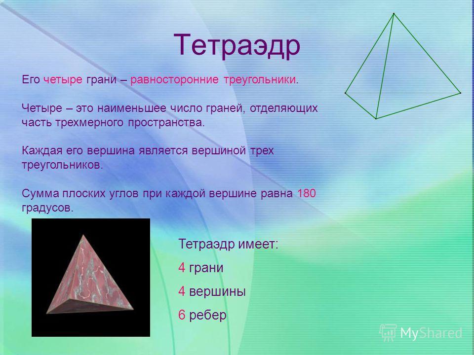 Тетраэдр Его четыре грани – равносторонние треугольники. Четыре – это наименьшее число граней, отделяющих часть трехмерного пространства. Каждая его вершина является вершиной трех треугольников. Сумма плоских углов при каждой вершине равна 180 градус