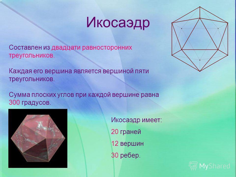 Икосаэдр Составлен из двадцати равносторонних треугольников. Каждая его вершина является вершиной пяти треугольников. Сумма плоских углов при каждой вершине равна 300 градусов. Икосаэдр имеет: 20 граней 12 вершин 30 ребер.