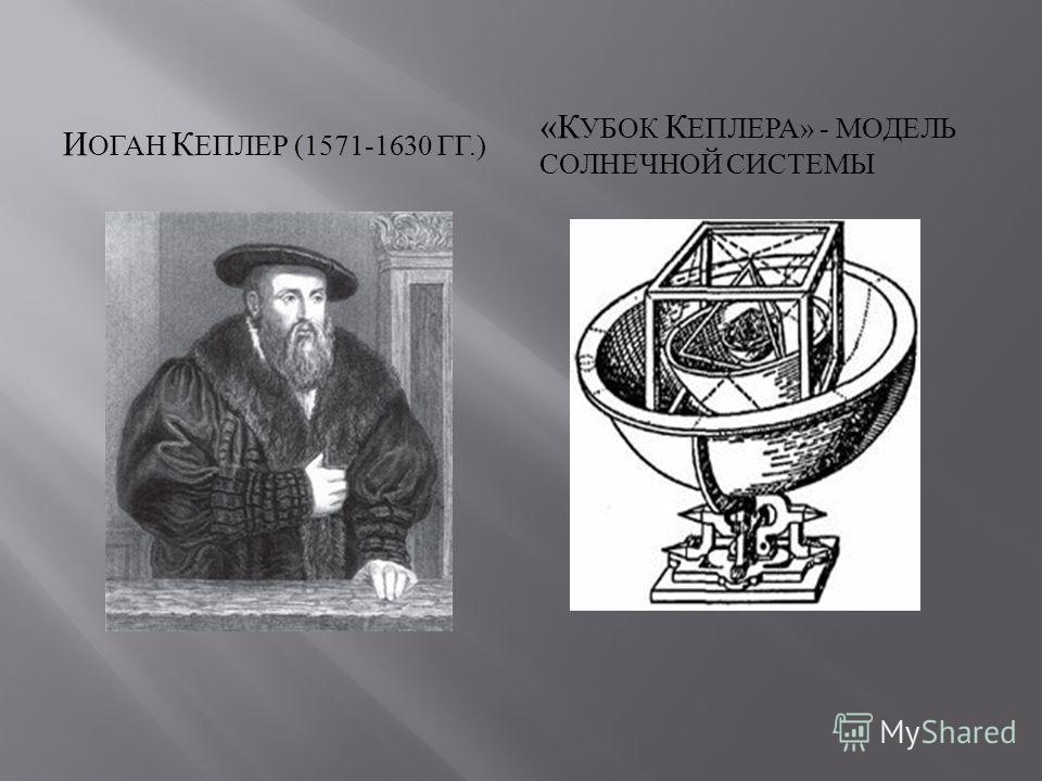 И ОГАН К ЕПЛЕР (1571-1630 ГГ.) « К УБОК К ЕПЛЕРА » - МОДЕЛЬ СОЛНЕЧНОЙ СИСТЕМЫ
