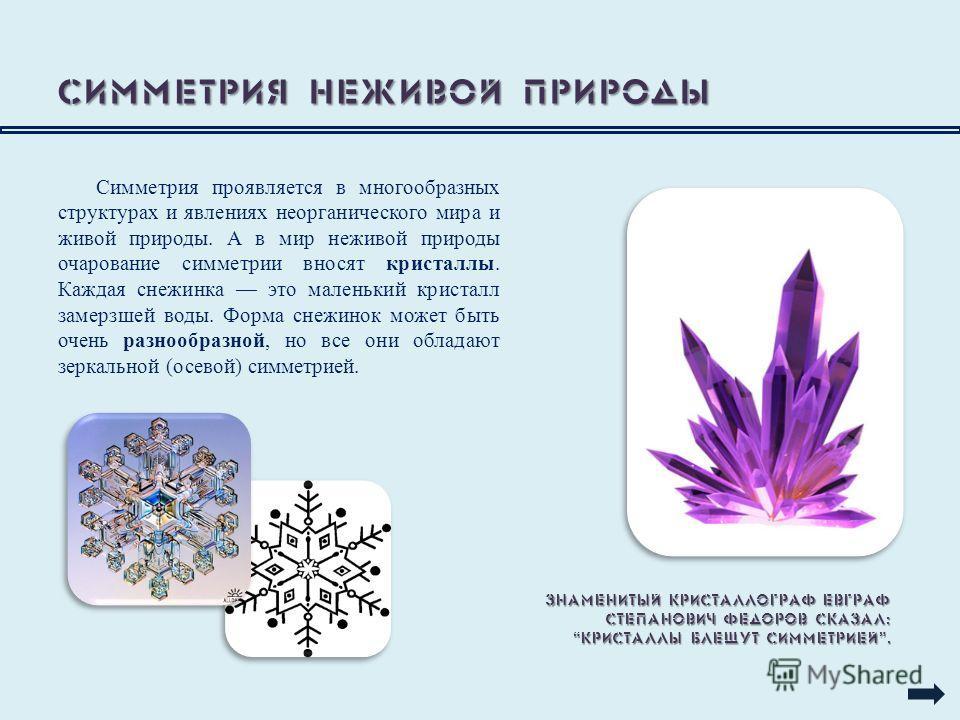 Симметрия неживой природы Симметрия проявляется в многообразных структурах и явлениях неорганического мира и живой природы. А в мир неживой природы очарование симметрии вносят кристаллы. Каждая снежинка это маленький кристалл замерзшей воды. Форма сн