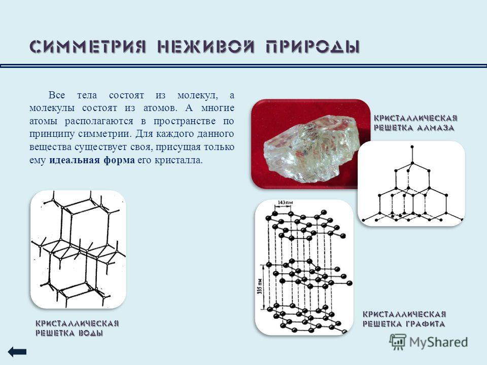 Симметрия неживой природы Все тела состоят из молекул, а молекулы состоят из атомов. А многие атомы располагаются в пространстве по принципу симметрии. Для каждого данного вещества существует своя, присущая только ему идеальная форма его кристалла. К