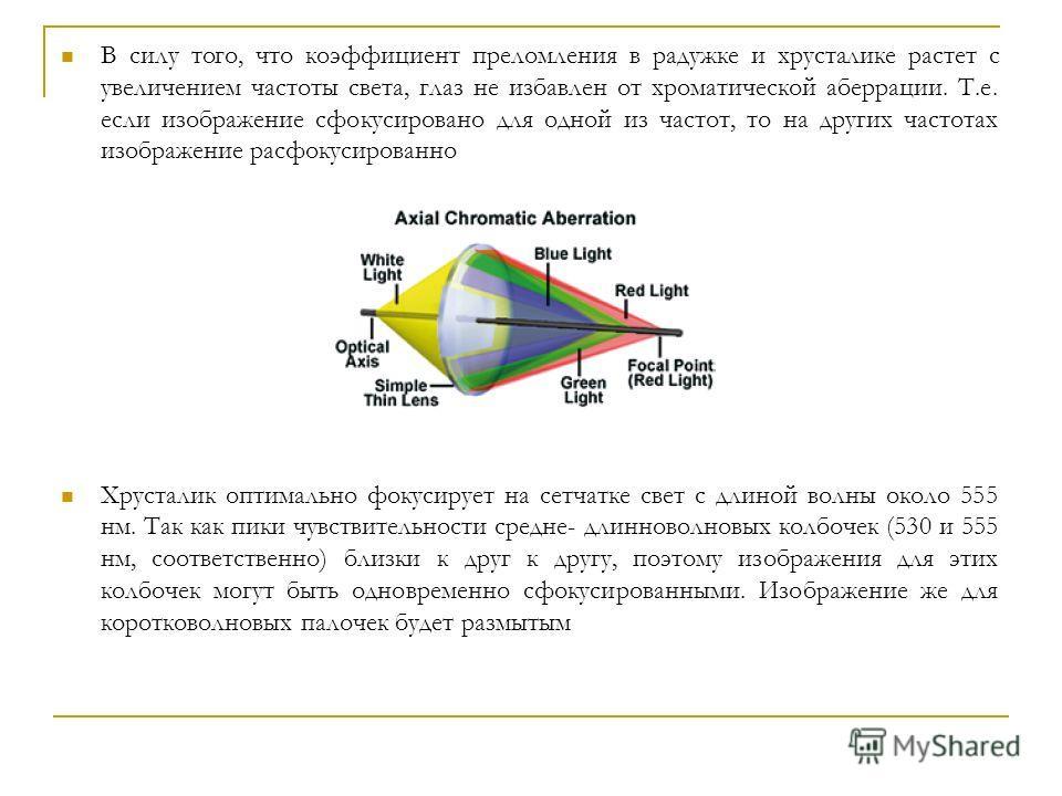 В силу того, что коэффициент преломления в радужке и хрусталике растет с увеличением частоты света, глаз не избавлен от хроматической аберрации. Т.е. если изображение сфокусировано для одной из частот, то на других частотах изображение расфокусирован