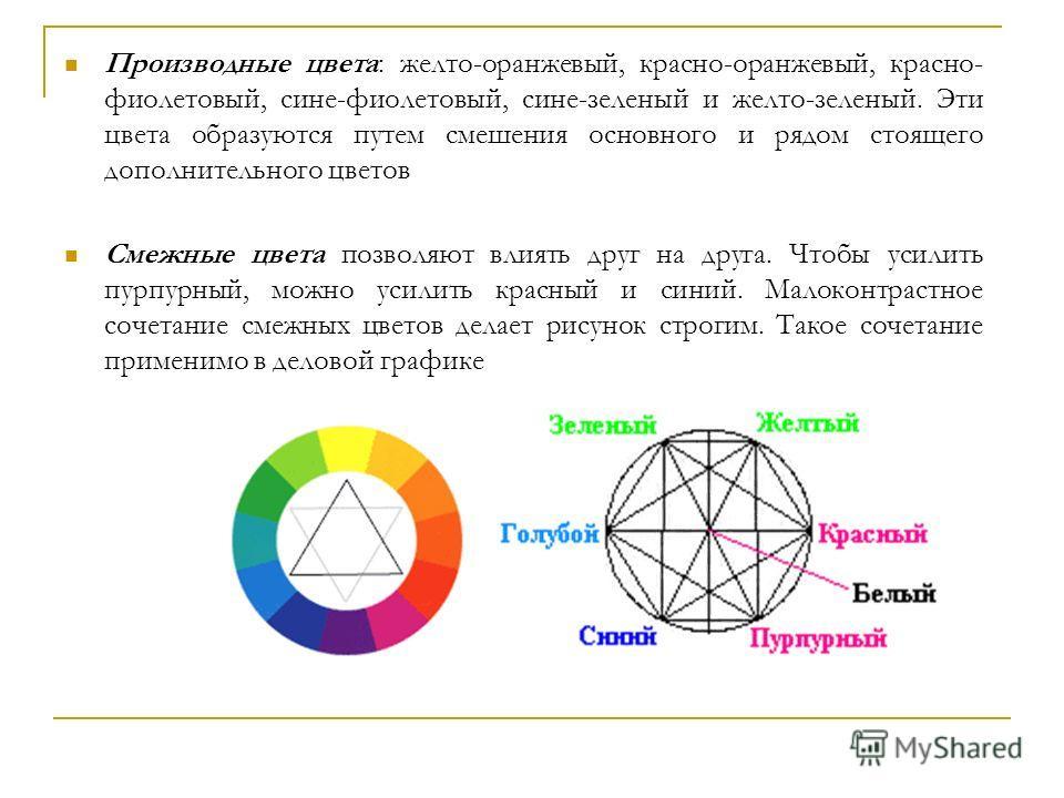 Производные цвета: желто-оранжевый, красно-оранжевый, красно- фиолетовый, сине-фиолетовый, сине-зеленый и желто-зеленый. Эти цвета образуются путем смешения основного и рядом стоящего дополнительного цветов Смежные цвета позволяют влиять друг на друг