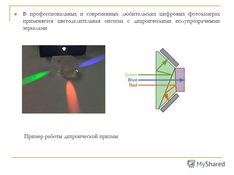 В профессиональных и современных любительских цифровых фотокамерах применяется цветоделительная система с дихроическими полупрозрачными зеркалами Пример работы дихроической призмы