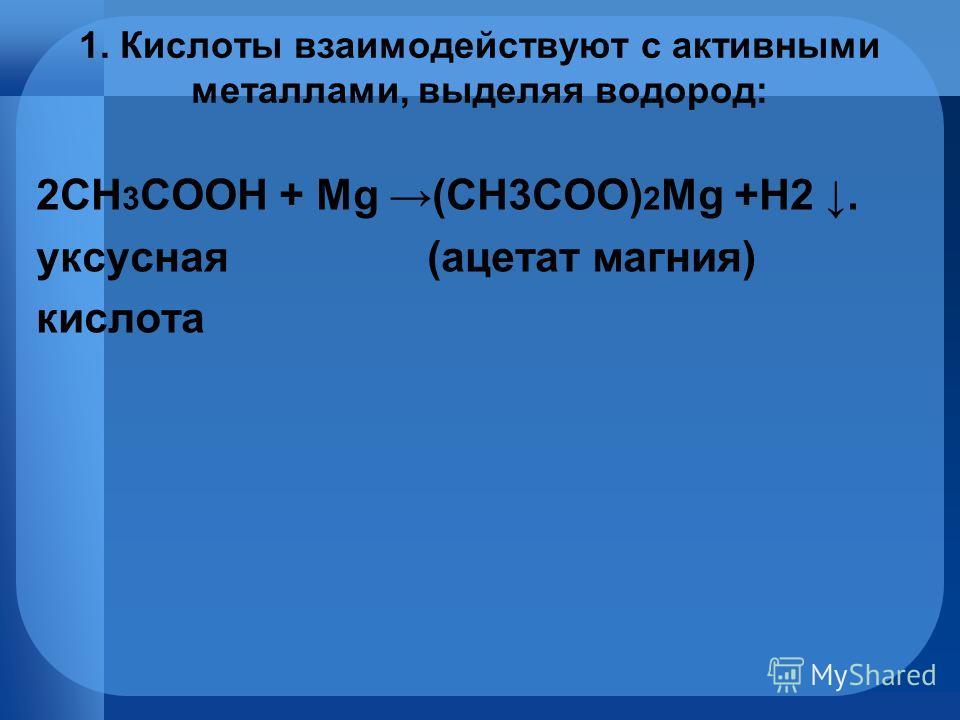 1. Кислоты взаимодействуют с активными металлами, выделяя водород: 2СН 3 СOOH + Mg (СН3СOO) 2 Mg +H2. уксусная (ацетат магния) кислота