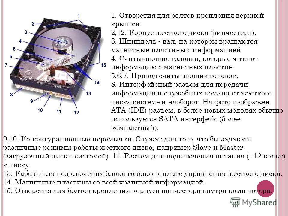 1. Отверстия для болтов крепления верхней крышки. 2,12. Корпус жесткого диска (винчестера). 3. Шпиндель - вал, на котором вращаются магнитные пластины с информацией. 4. Считывающие головки, которые читают информацию с магнитных пластин. 5,6,7. Привод