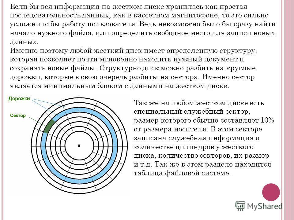 Если бы вся информация на жестком диске хранилась как простая последовательность данных, как в кассетном магнитофоне, то это сильно усложнило бы работу пользователя. Ведь невозможно было бы сразу найти начало нужного файла, или определить свободное м