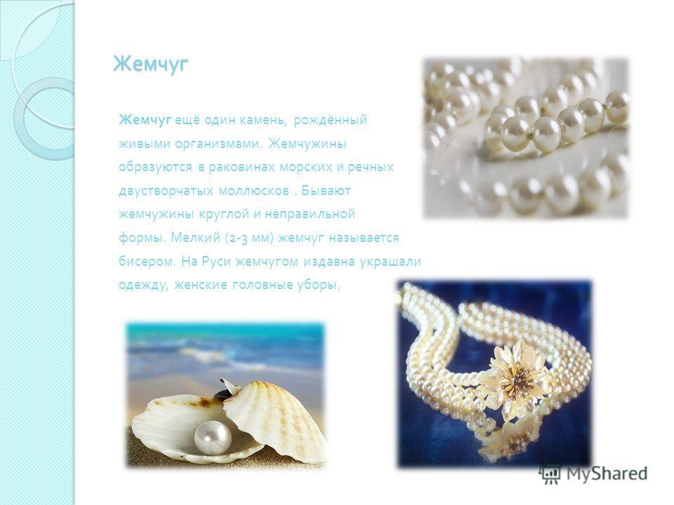 Жемчуг Жемчуг ещё один камень, рождённый живыми организмами. Жемчужины образуются в раковинах морских и речных двустворчатых моллюсков. Бывают жемчужины круглой и неправильной формы. Мелкий (2-3 мм ) жемчуг называется бисером. На Руси жемчугом издавн