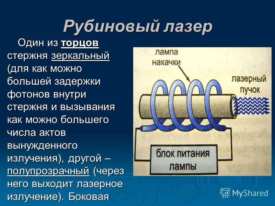 Рубиновый лазер Один из торцов стержня зеркальный (для как можно большей задержки фотонов внутри стержня и вызывания как можно большего числа актов вынужденного излучения), другой – полупрозрачный (через него выходит лазерное излучение). Боковая пове