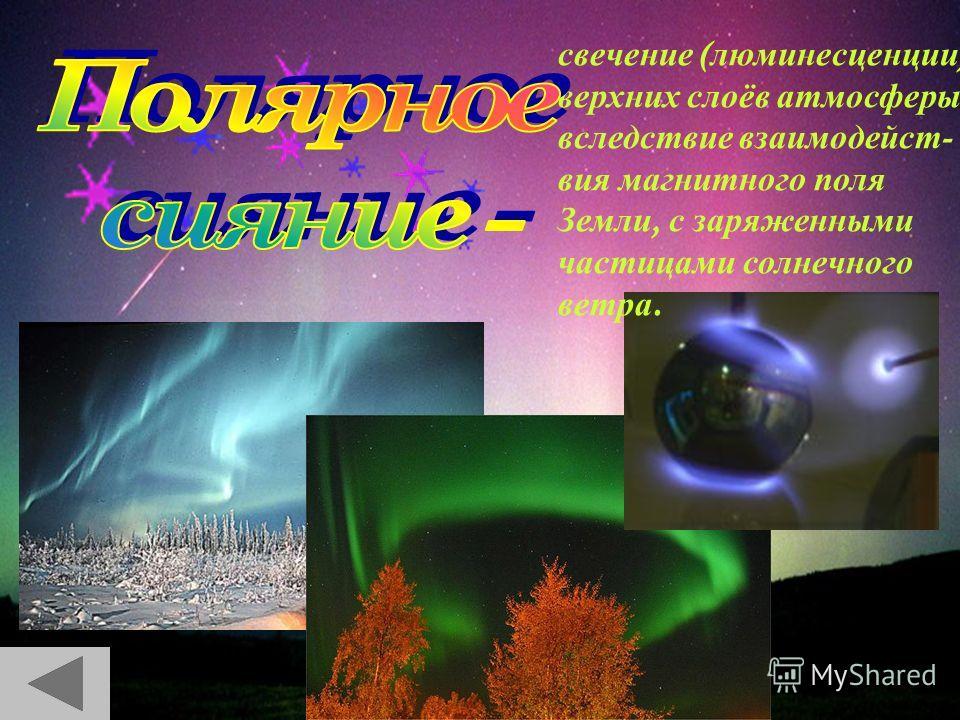 свечение ( люминесценции ) верхних с лоёв атмосферы, вследствие взаимодействия магнитного п оля Земли, с заряженными частицами солнечного ветра.