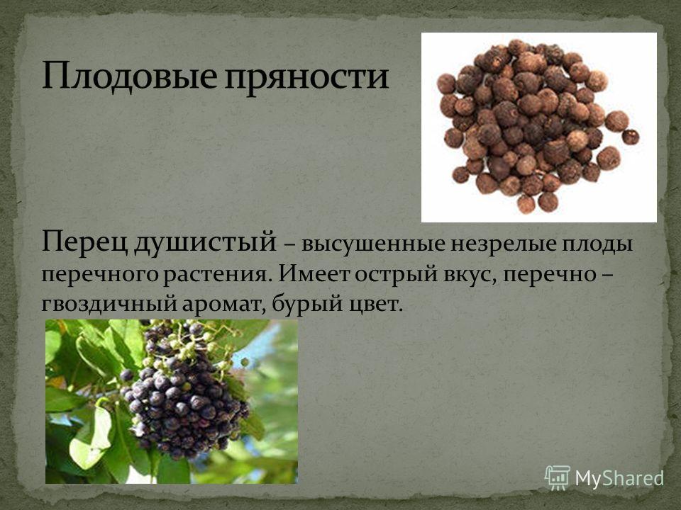 Перец душистый – высушенные незрелые плоды перечного растения. Имеет острый вкус, перечно – гвоздичный аромат, бурый цвет.