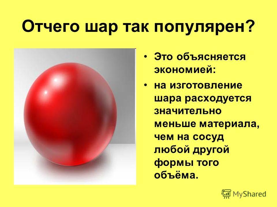 Отчего шар так популярен? Это объясняется экономией: на изготовление шара расходуется значительно меньше материала, чем на сосуд любой другой формы того объёма.
