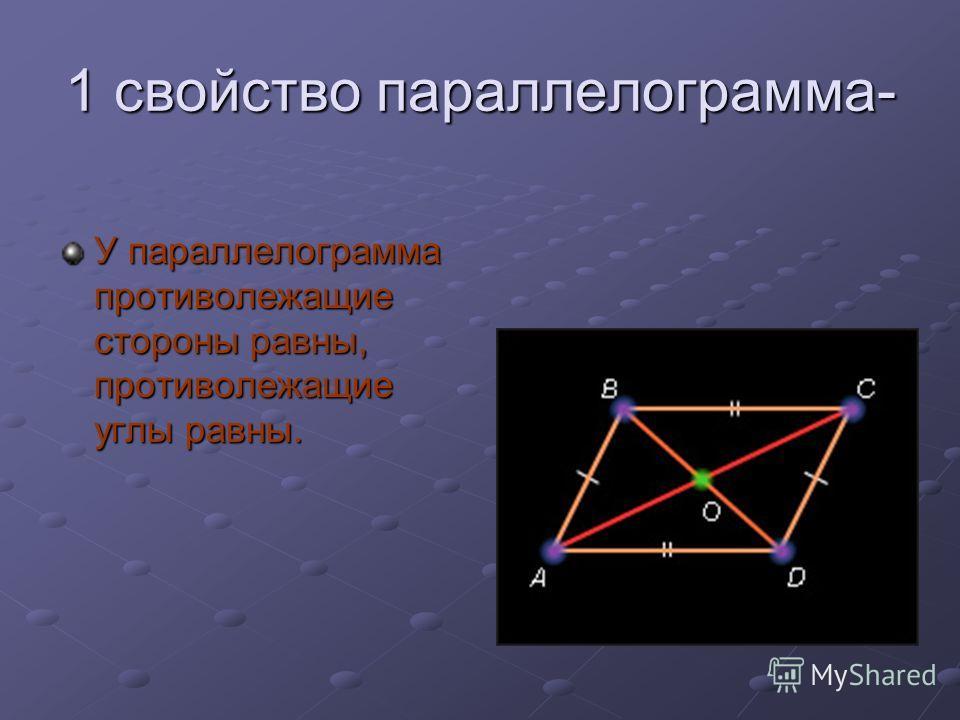 1 свойство параллелограмма- У параллелограмма противолежащие стороны равны, противолежащие углы равны.