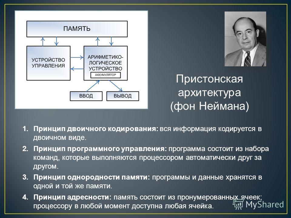Пристонская архитектура (фон Неймана) 1. Принцип двоичного кодирования: вся информация кодируется в двоичном виде. 2. Принцип программного управления: программа состоит из набора команд, которые выполняются процессором автоматически друг за другом. 3