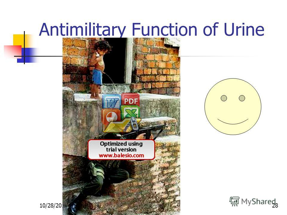 10/28/201428 Antimilitary Function of Urine