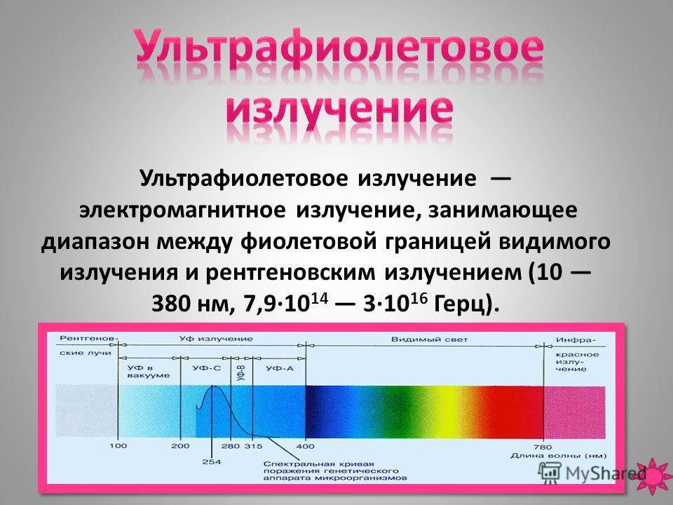 Ультрафиолетовое излучение электромагнитное излучение, занимающее диапазон между фиолетовой границей видимого излучения и рентгеновским излучением (10 380 нм, 7,9·10 14 3·10 16 Герц).