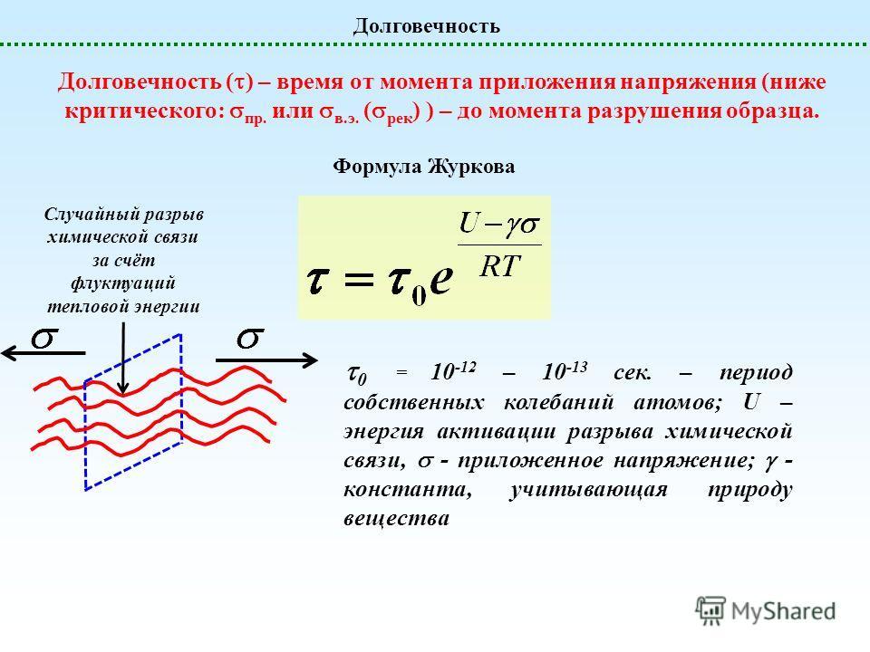 Долговечность Долговечность ( ) – время от момента приложения напряжения (ниже критического: пр. или в.э. ( рек ) ) – до момента разрушения образца. Формула Журкова 0 = 10 -12 – 10 -13 сек. – период собственных колебаний атомов; U – энергия активации