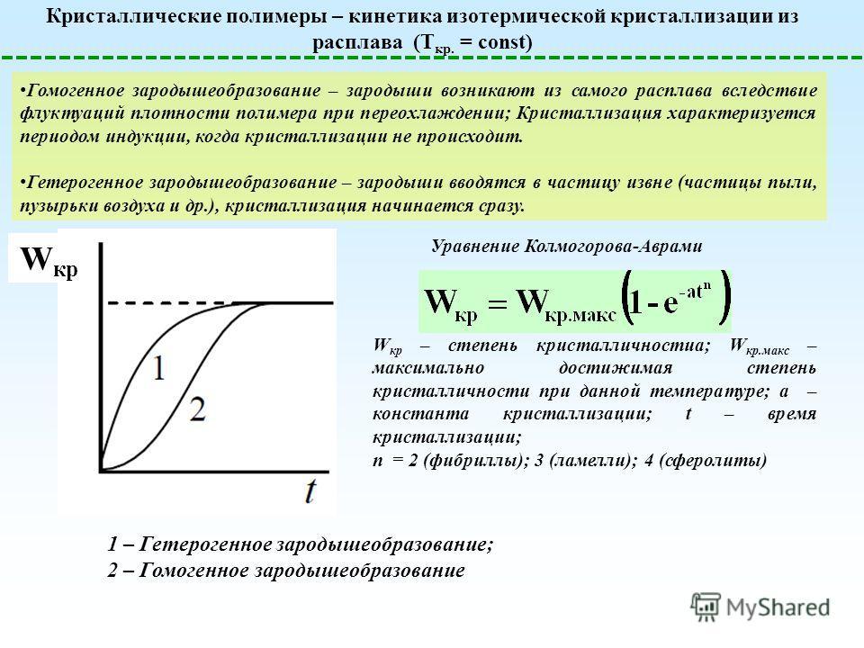 Кристаллические полимеры – кинетика изотермической кристаллизации из расплава (T кр. = const) Уравнение Колмогорова-Аврами Гомогенное зародышеобразование – зародыши возникают из самого расплава вследствие флуктуаций плотности полимера при переохлажде