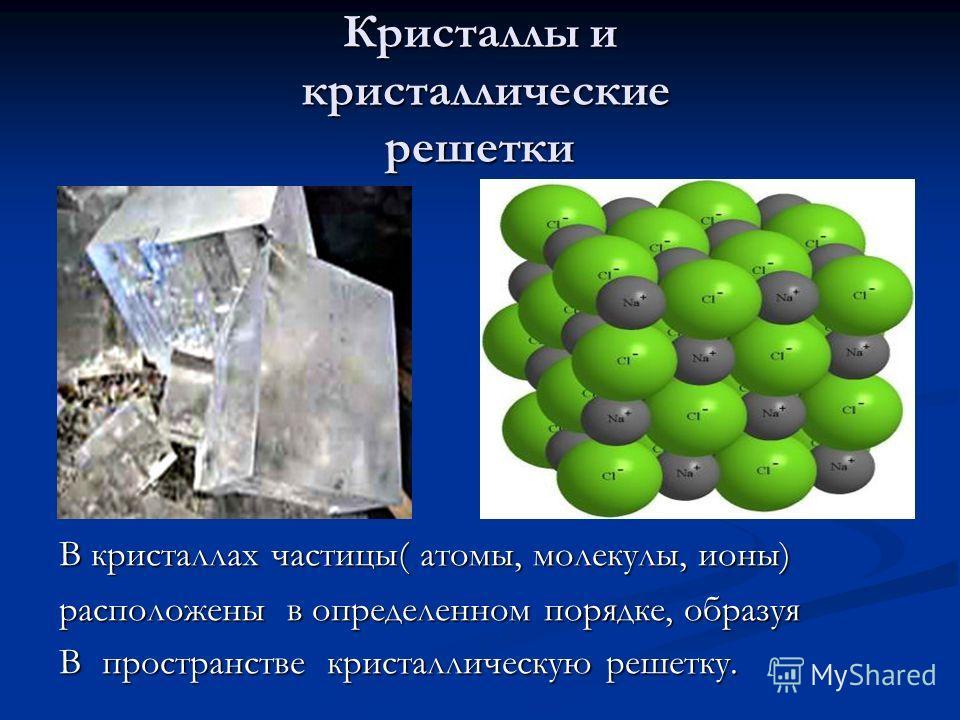 Кристаллы и кристаллические решетки В кристаллах частицы( атомы, молекулы, ионы) расположены в определенном порядке, образуя В пространстве кристаллическую решетку.