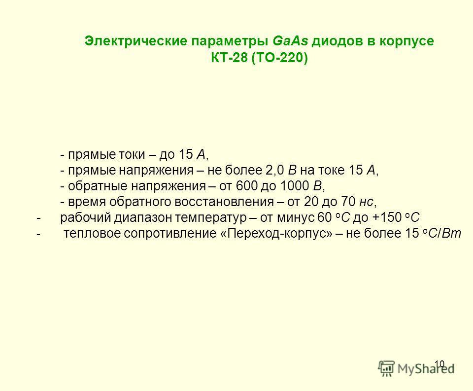 Электрические параметры GaAs диодов в корпусе КТ-28 (ТО-220) 10 - прямые токи – до 15 А, - прямые напряжения – не более 2,0 В на токе 15 А, - обратные напряжения – от 600 до 1000 В, - время обратного восстановления – от 20 до 70 нс, -рабочий диапазон