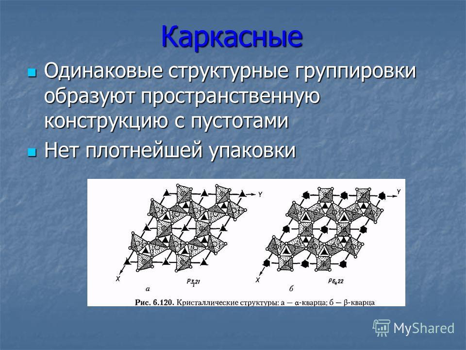 Каркасные Одинаковые структурные группировки образуют пространственную конструкцию с пустотами Одинаковые структурные группировки образуют пространственную конструкцию с пустотами Нет плотнейшей упаковки Нет плотнейшей упаковки