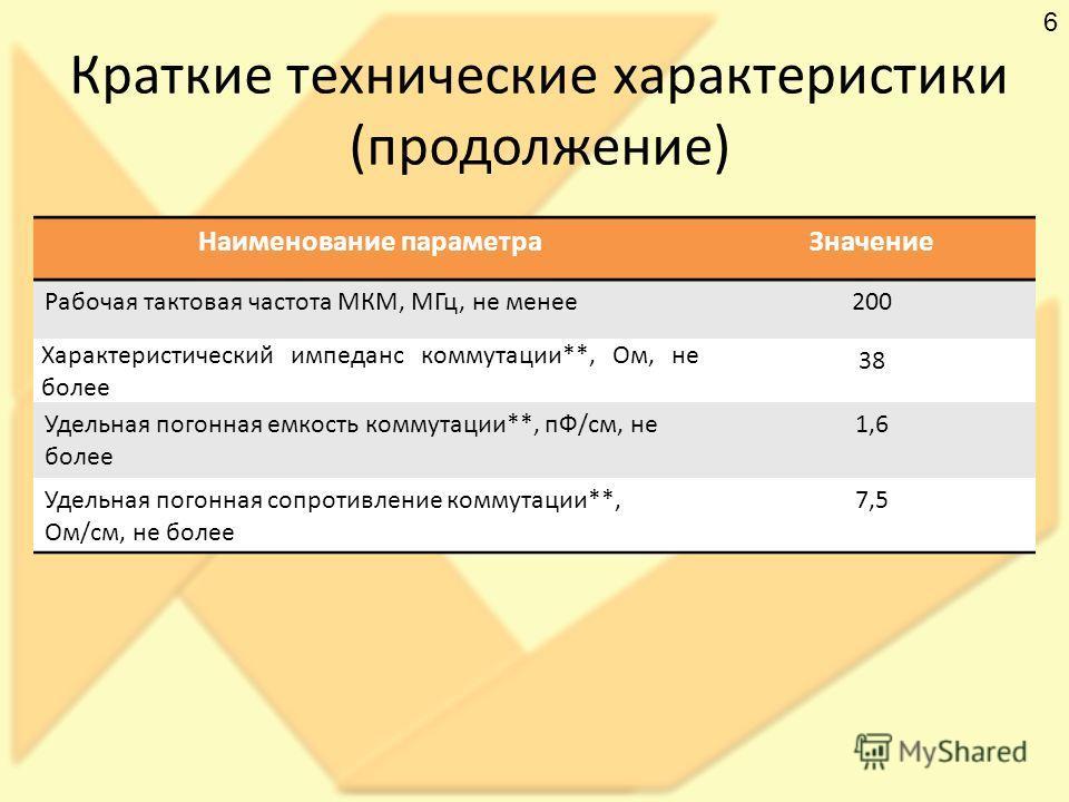 Краткие технические характеристики (продолжение) Наименование параметра Значение Рабочая тактовая частота МКМ, МГц, не менее 200 Характеристический импеданс коммутации**, Ом, не более 38 Удельная погонная емкость коммутации**, пФ/см, не более 1,6 Уде